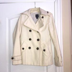 Brand New! GAP cream pea coat, size S